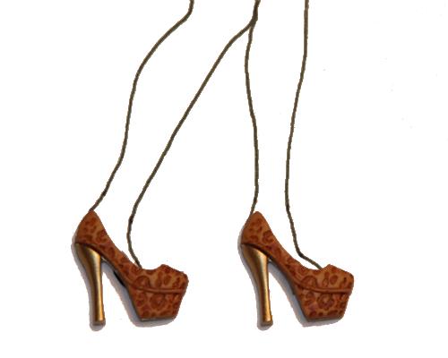 Knöpfe High heels braun