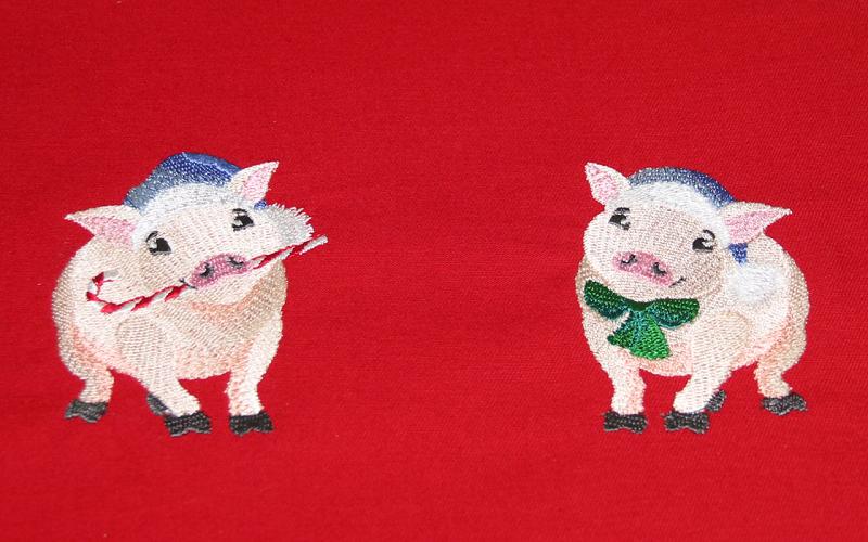gestickte Schweinchen