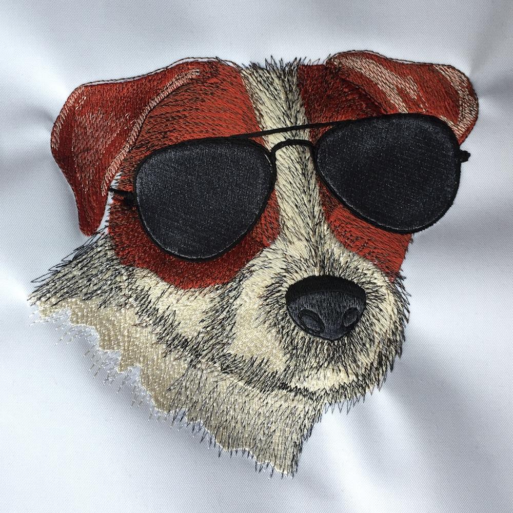 Stickerei - Hund mit Sonnenbrille